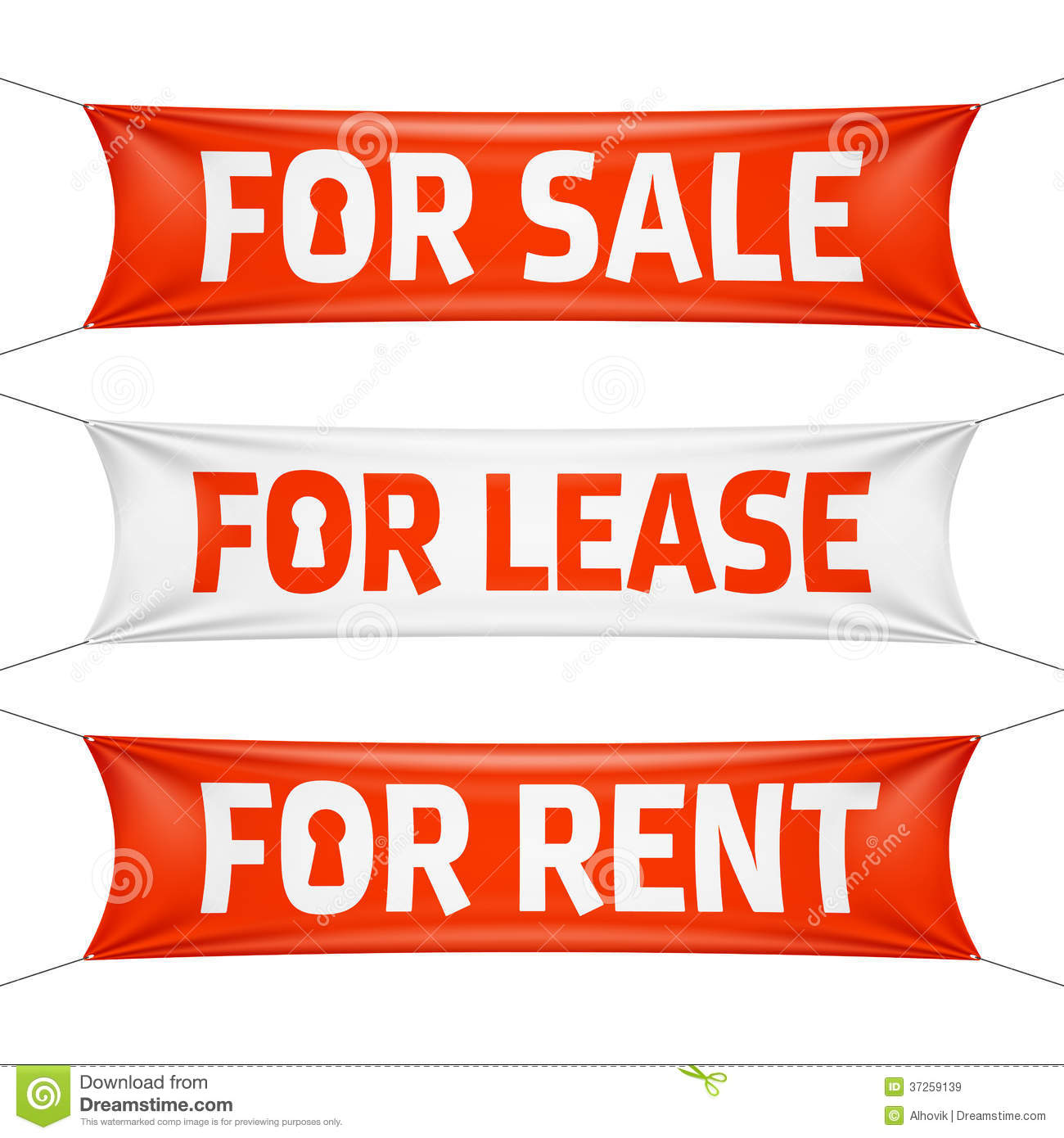 For Rental: Fore Sale, For Lease And For Rent Banners Stock Vector