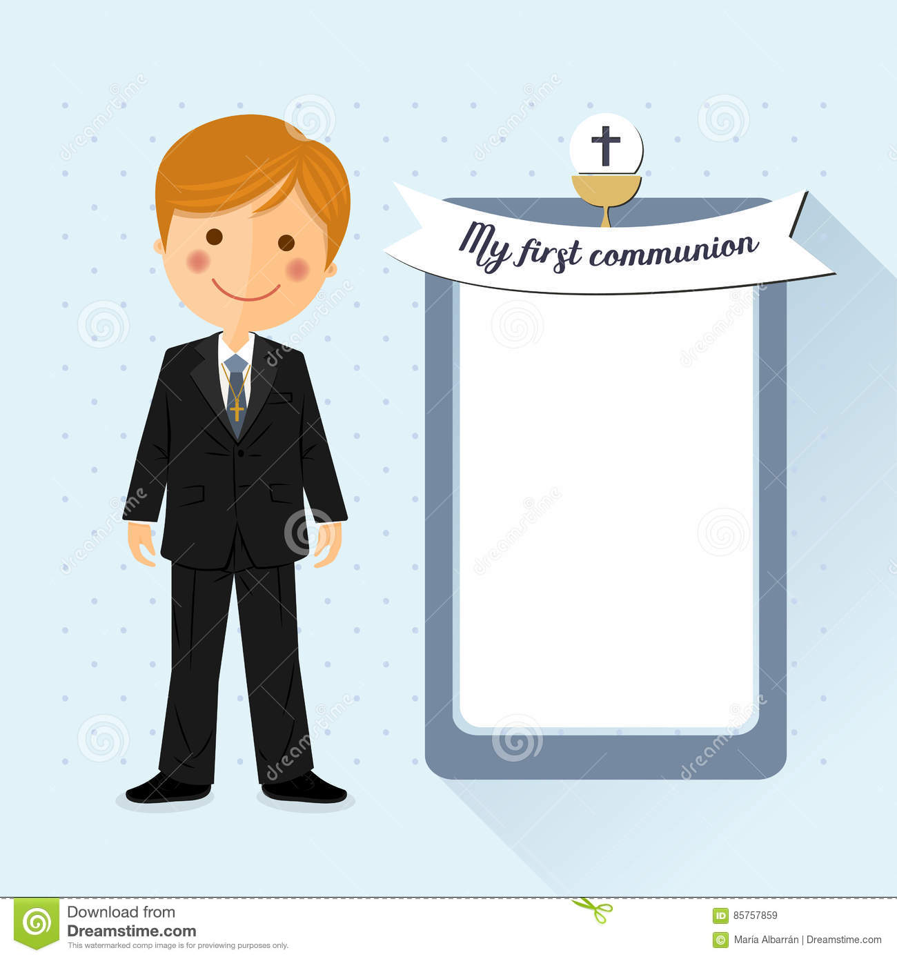 Foreground child costume in her first communion dress invitation with message