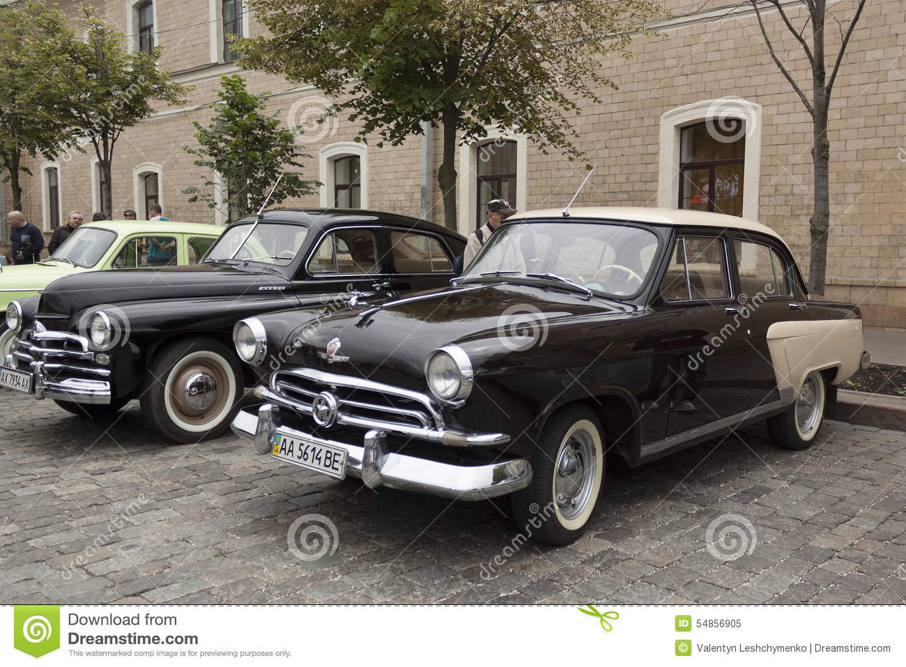 In The Foreground Of The Soviet Car Volga GAZ-21, The First Indu ...