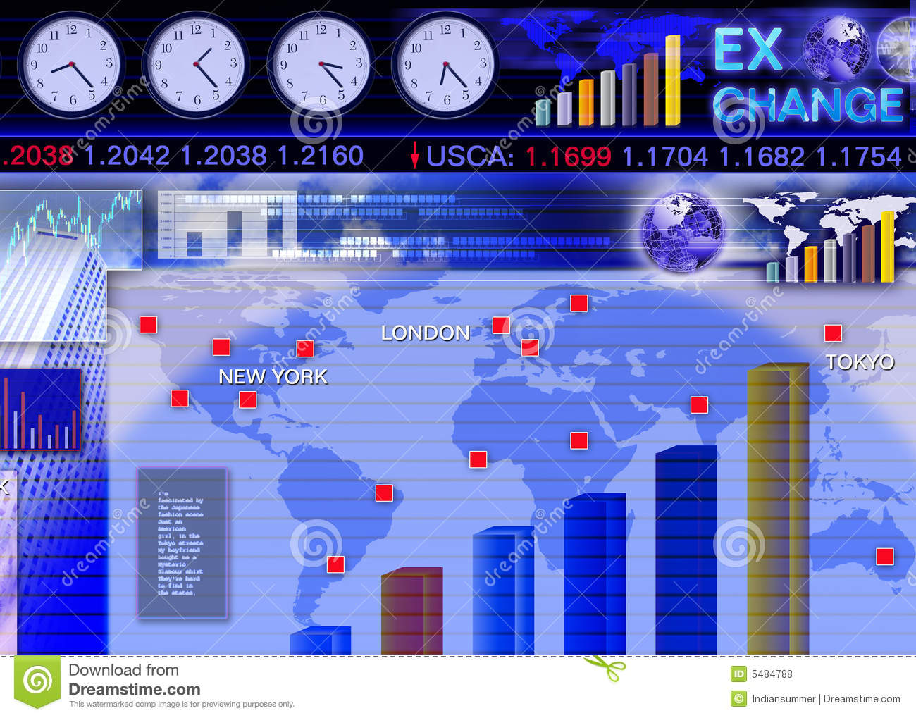 Foreign Currency Exchange Market Scene Stock Illustration