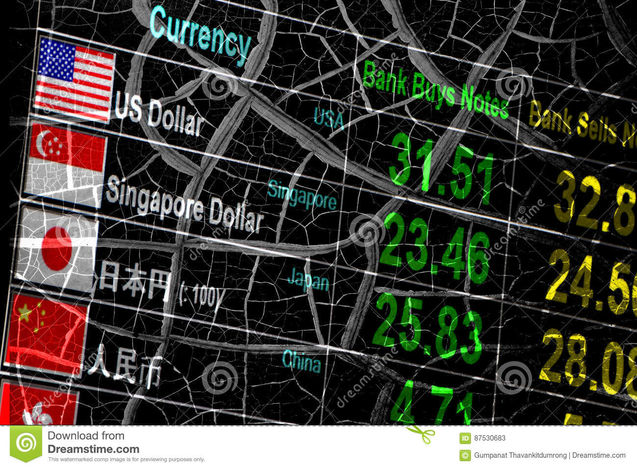 Foreign Currency Exchange Rate, Economy Crisis  Stock Image