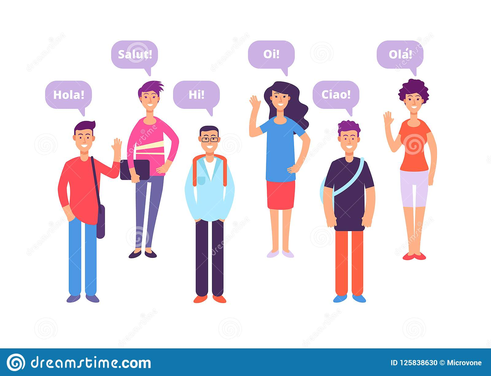 Foreign Language Concept Students Greeting In English French German