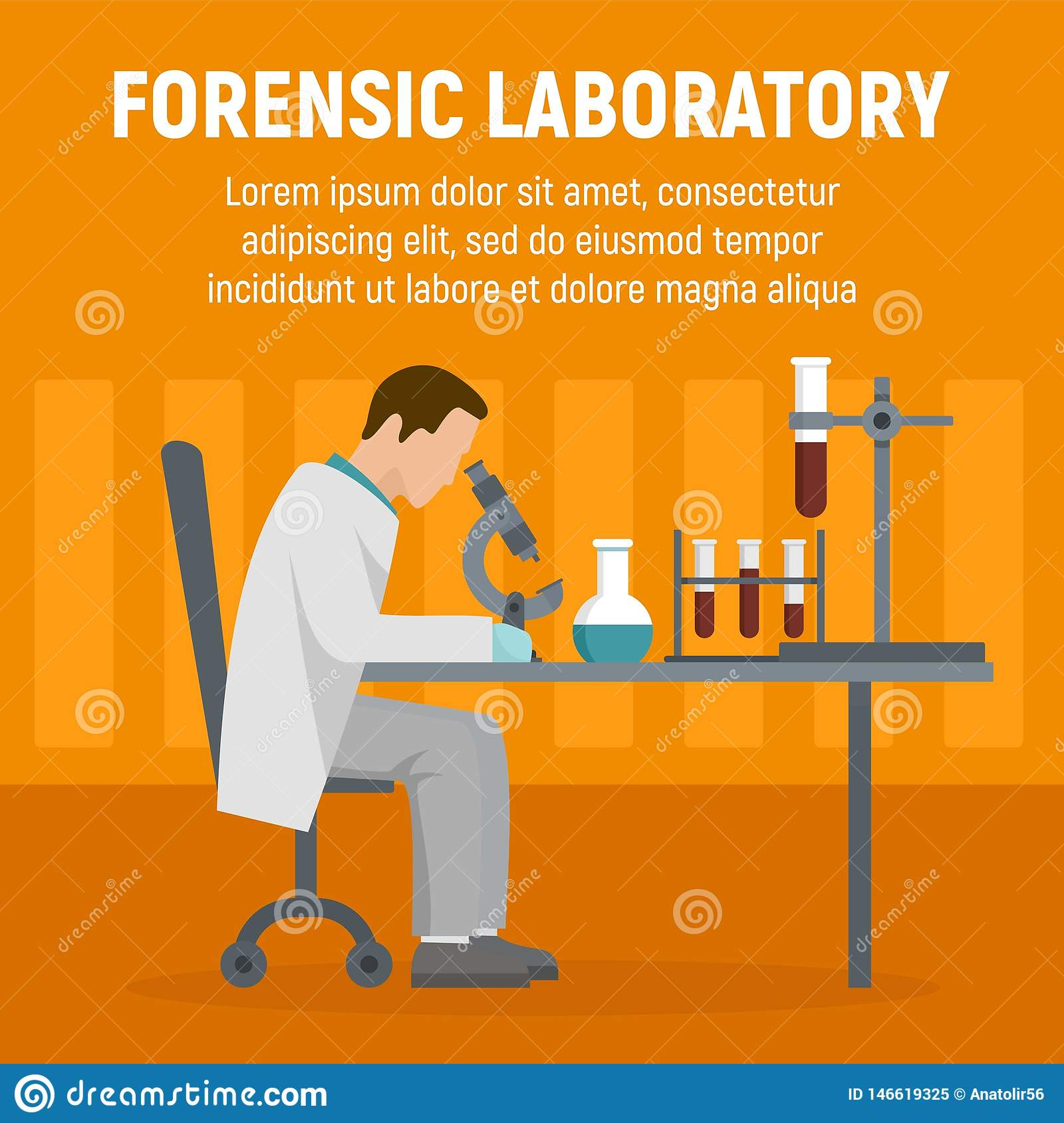 Forensic Laboratory Chemical Tube Concept Background Flat Style Stock Vector Illustration Of Biology Examine 146619325