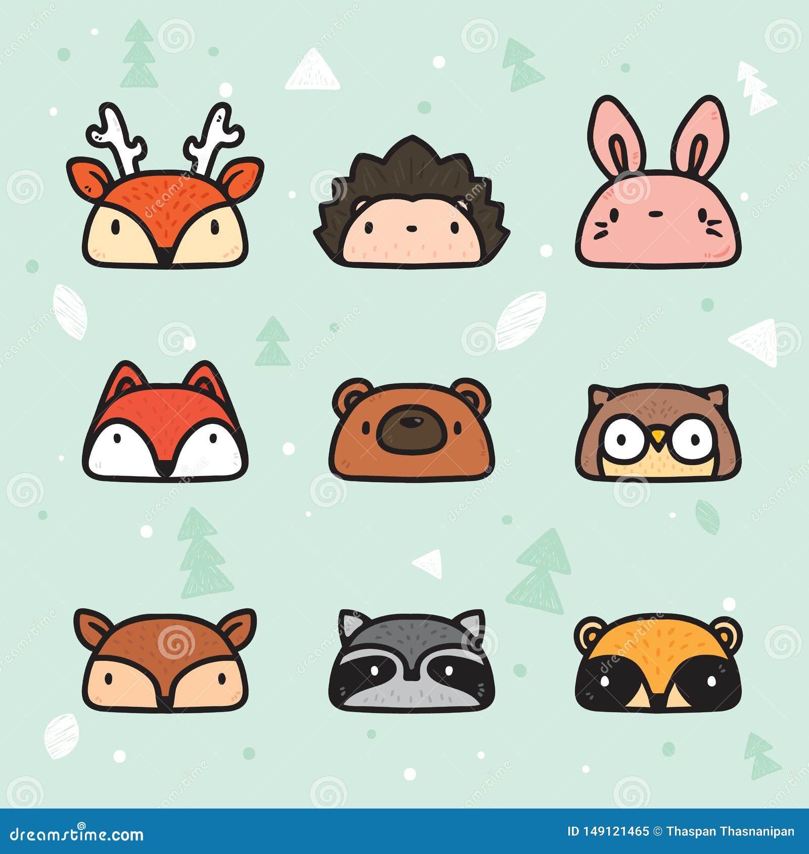 Forest Animal Faces Collection disegnato a mano sveglio