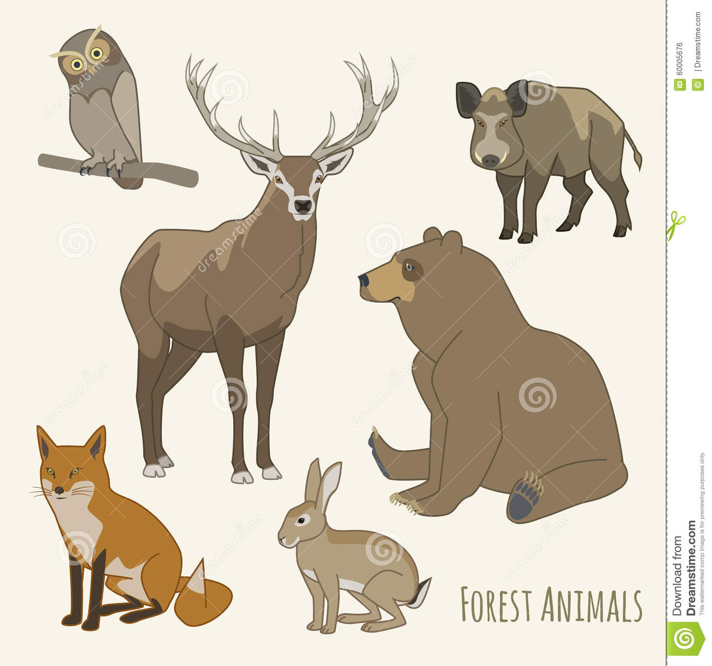 forest animal set stock vector image 60005676