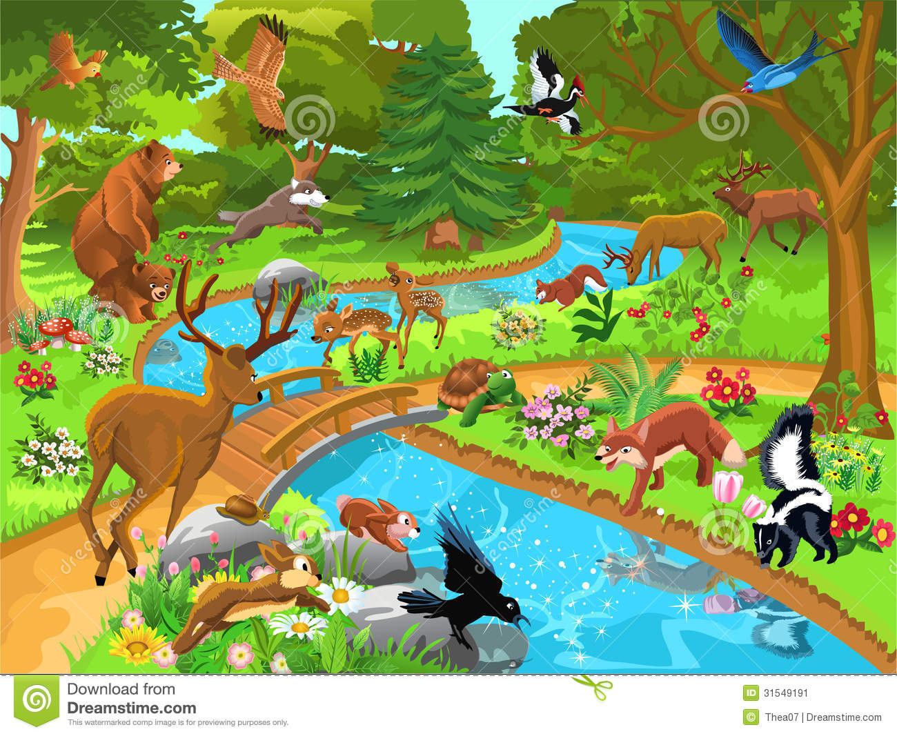 Download Forest Animals Coming To Drink Water Stock Vector - Illustration of deer, perfect: 31549191