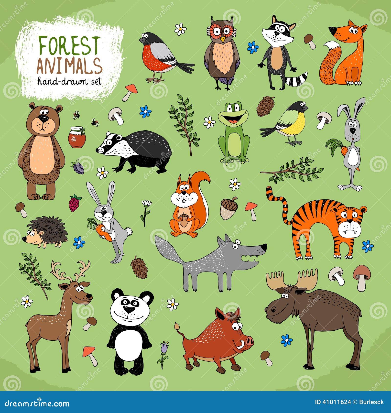 Forest Animals Hand Drawn Illustration Stock Vector