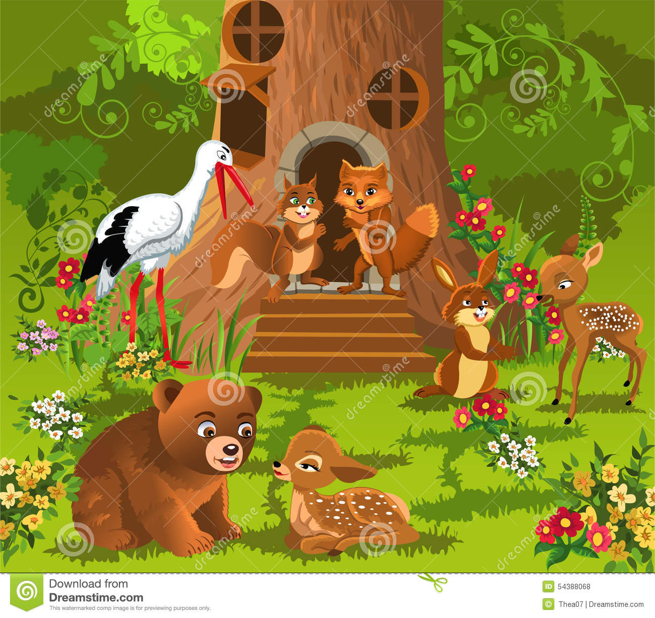 Forest Animals Living In The Tree House Stock Vector - Image: 54388068