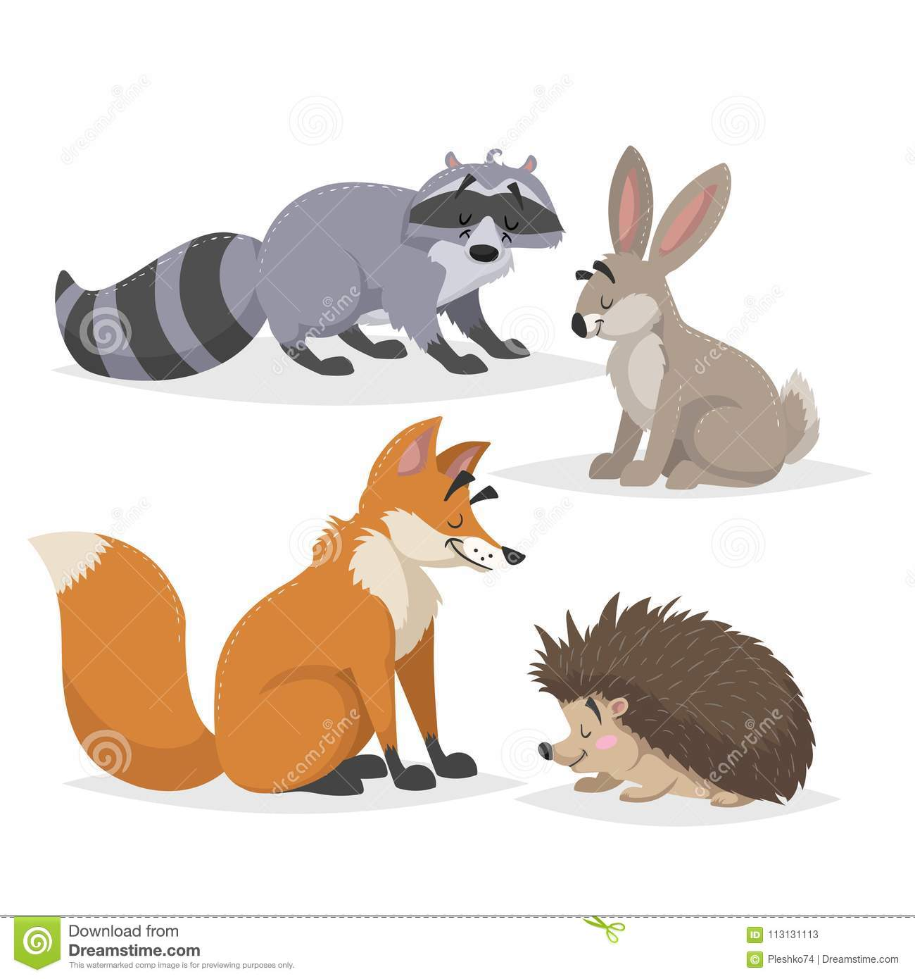 Forest animals set. Raccoon, hare, hedgehog and red fox. Happy smiling and cheerful characters. Vector zoo illustrations