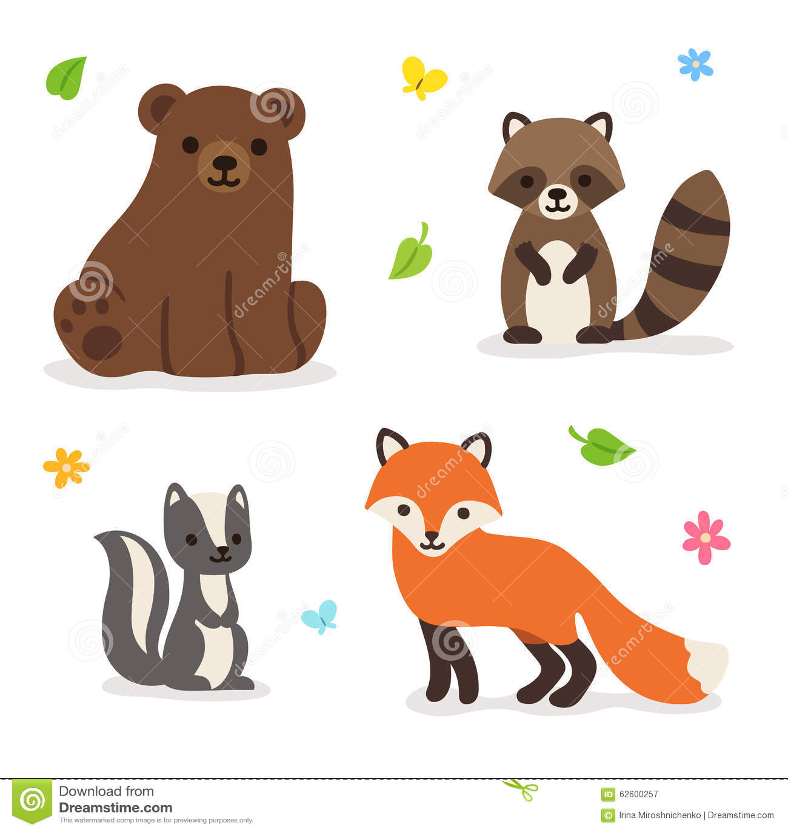 Forest Animals Vector Illustration Stock Vector