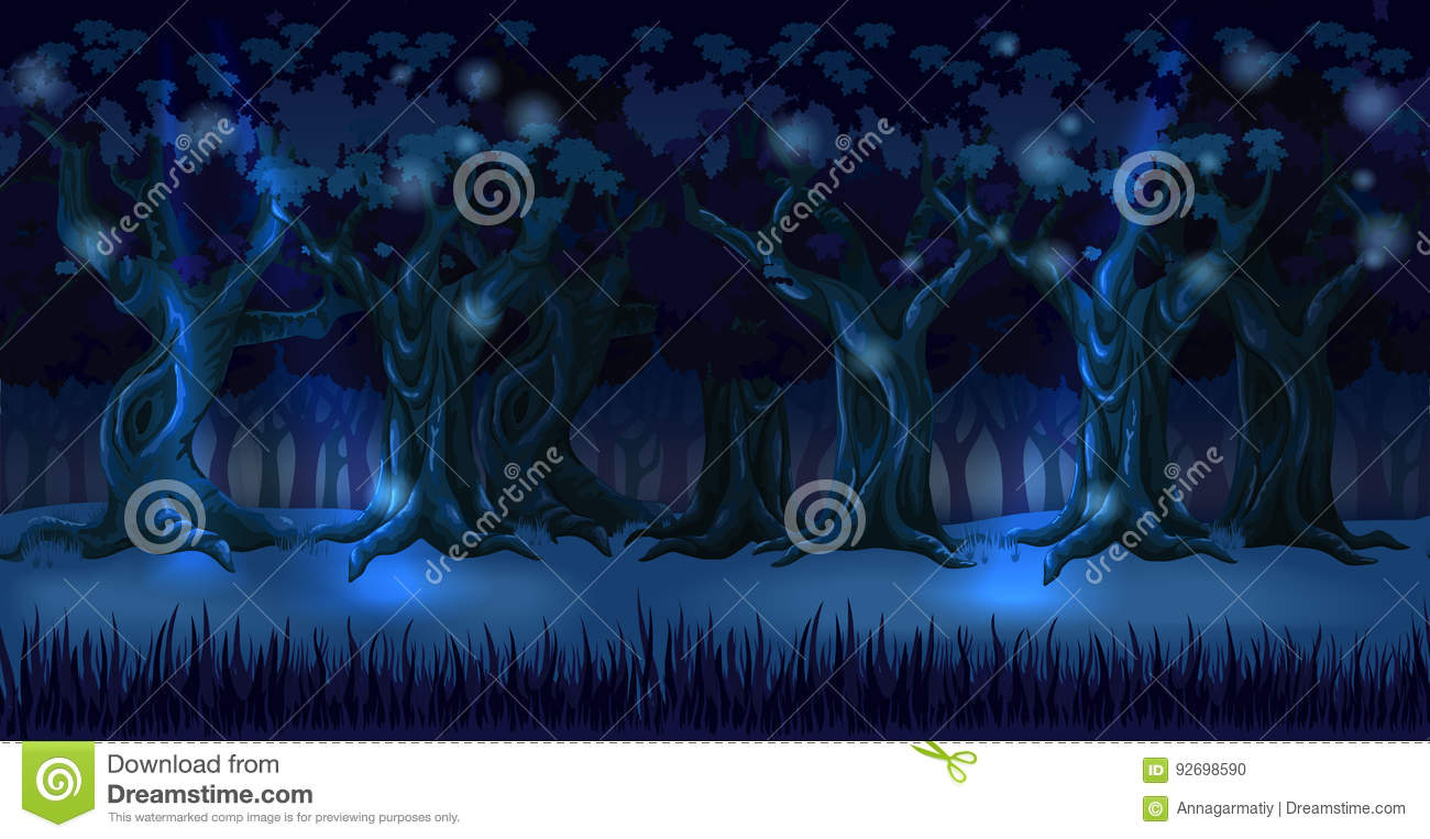 Forest background panorama at dark night