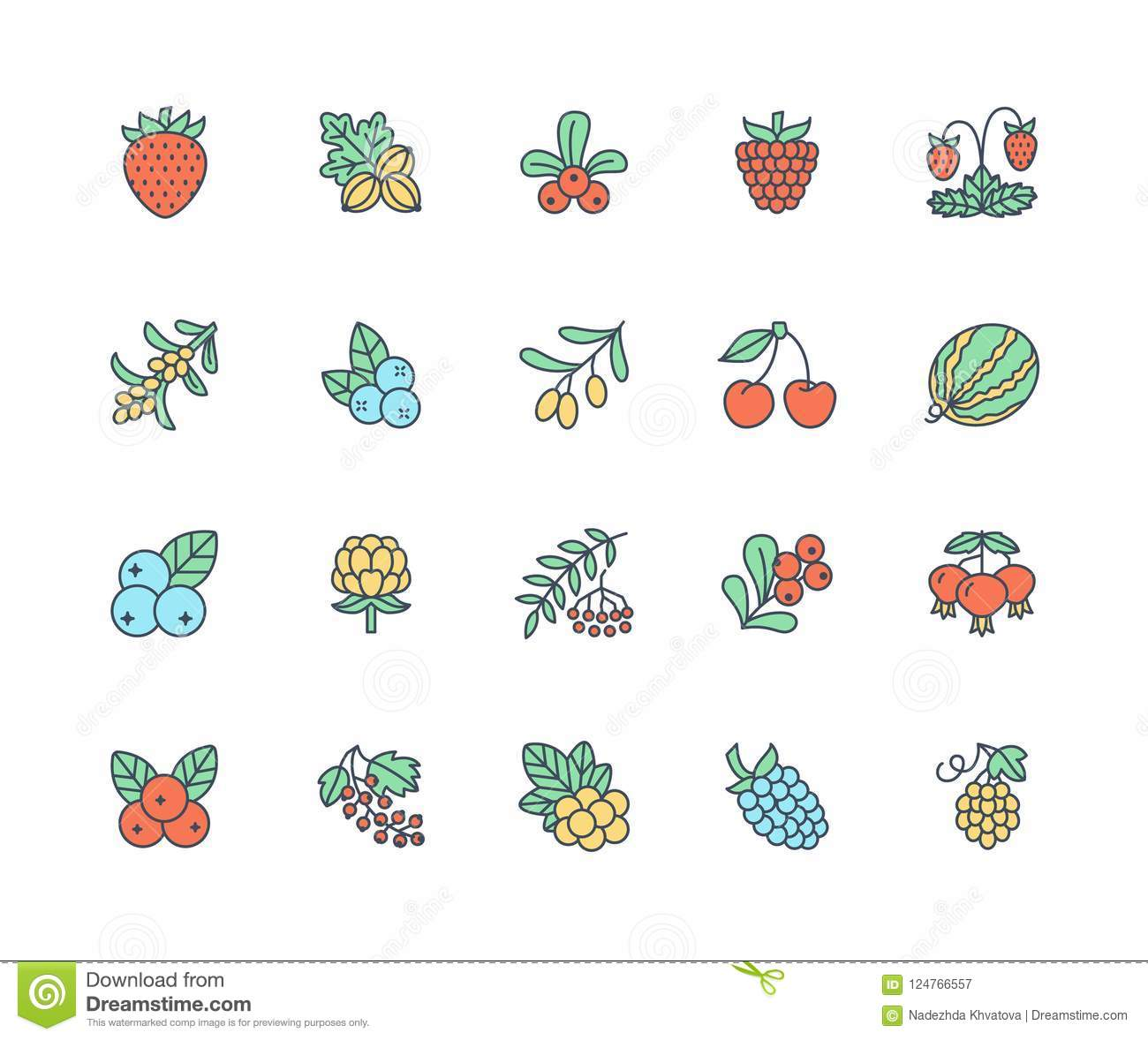 Forest berries colored flat line icons - blueberry, cranberry, raspberry, strawberry, cherry, rowan berry, blackberry