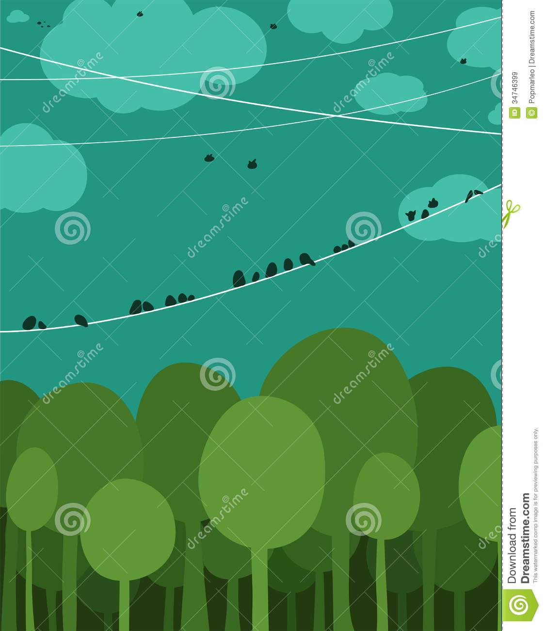 Forest And Birds Sitting On Wires Graphic Design Royalty