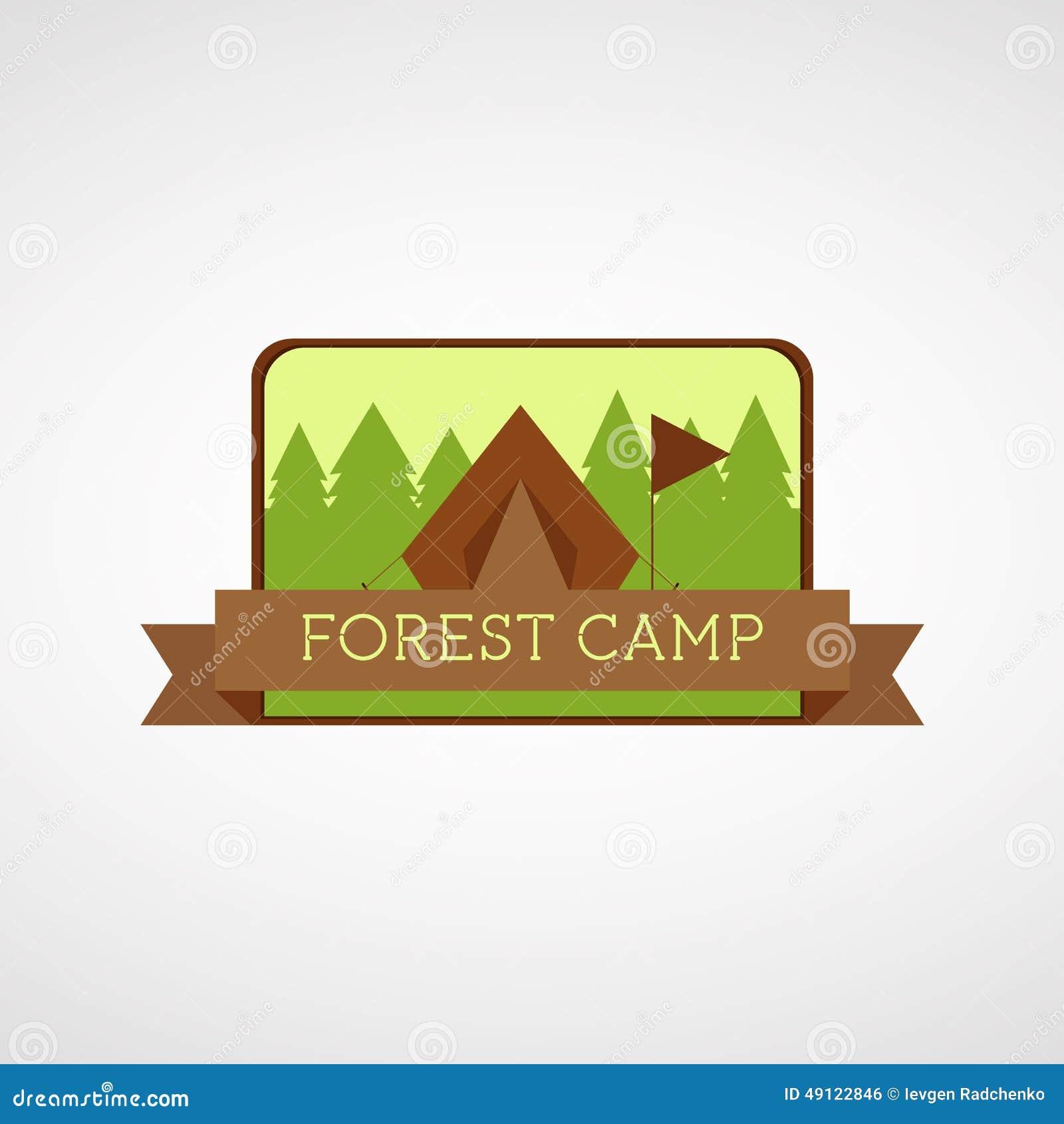 forest camping logo  wilderness adventure badge graphic design emblem stock vector