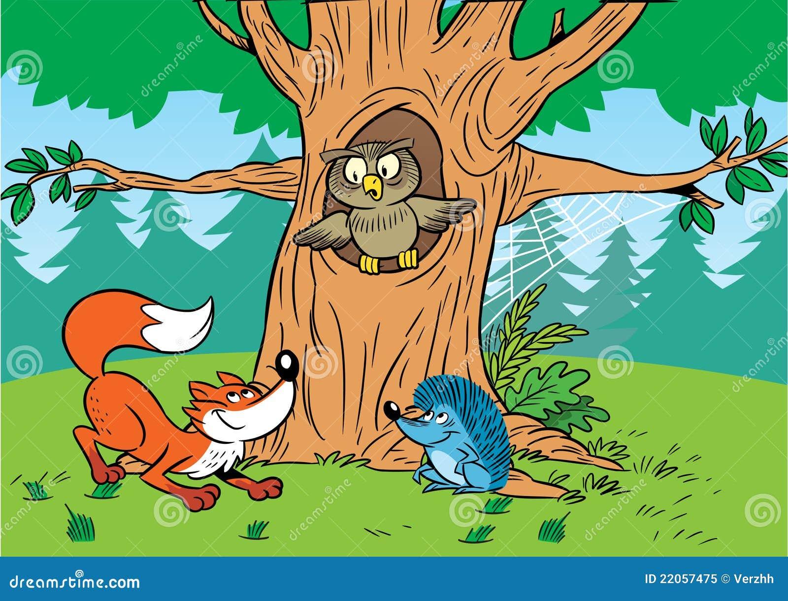 Forest Cartoon Animals Royalty Free Stock Photo Image