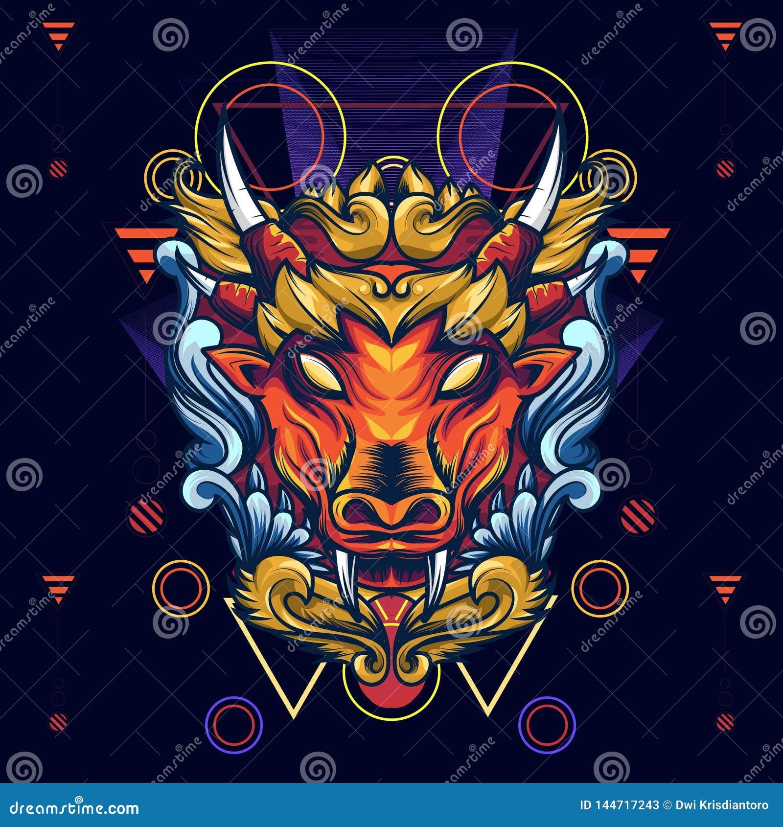 Forest Cow Sacred Geometry mítico é uma ilustração de Forest Cow mítico com um olhar assustador contudo artístico Com bonit