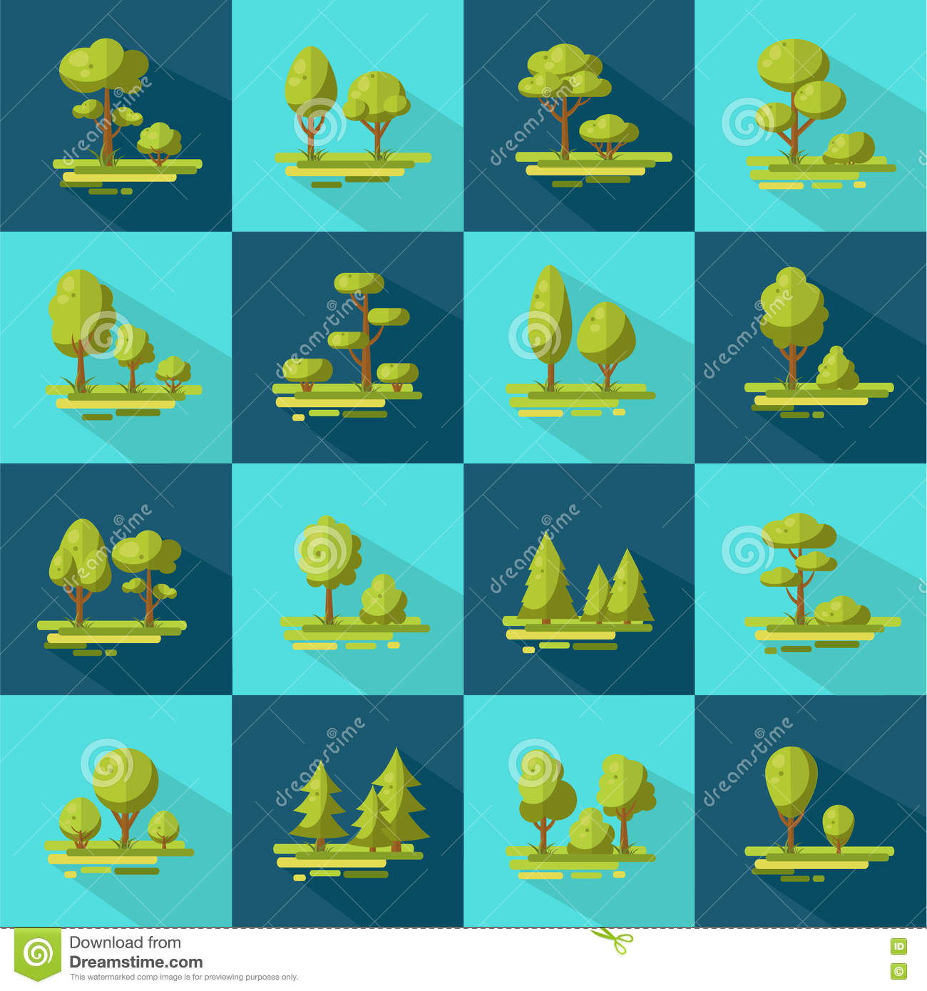 Forest Elements Flat Icons Set