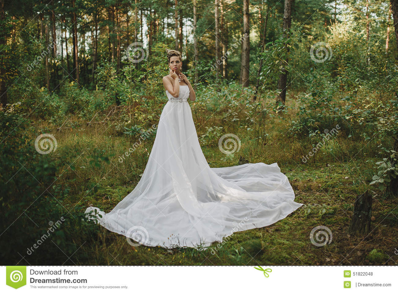 Forest Fairy Beautiful Girl In White Stock Photo - Image ...