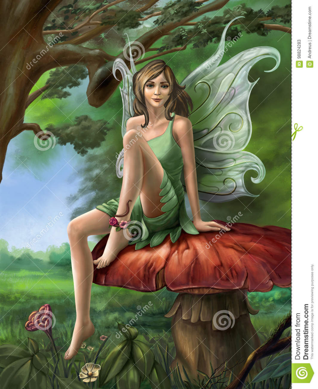 Forest fairy resting on a mushroom