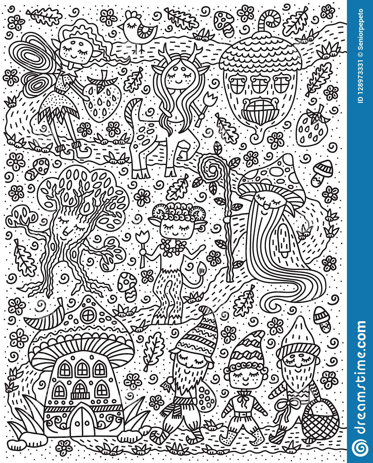 Forest fairy tale. Fairy, gnome, mage, mushroom, acorn, centaur, tree. Coloring book page. Outline drawing. Vector illustration