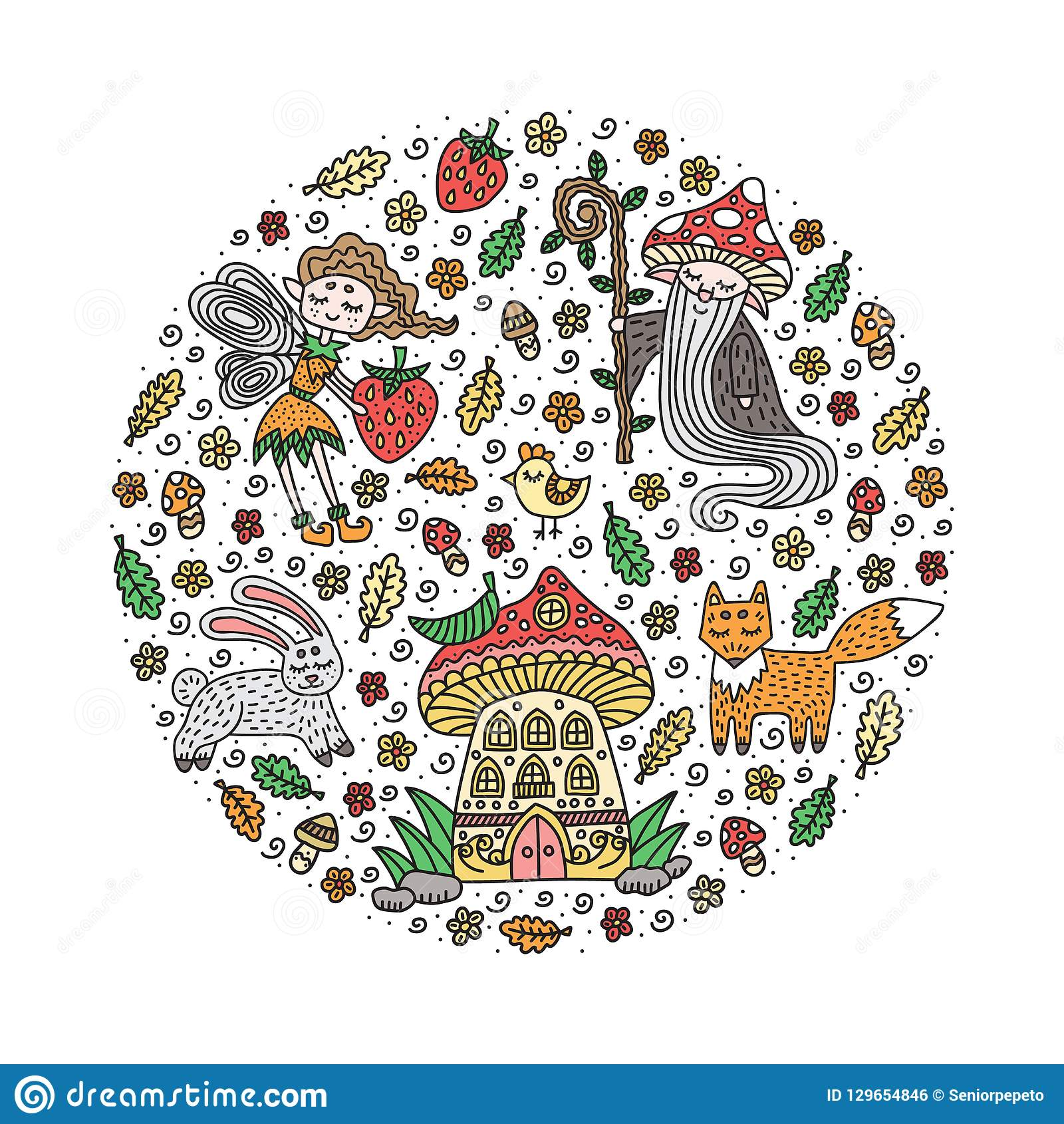 Forest fairy tale set. Vector illustration.