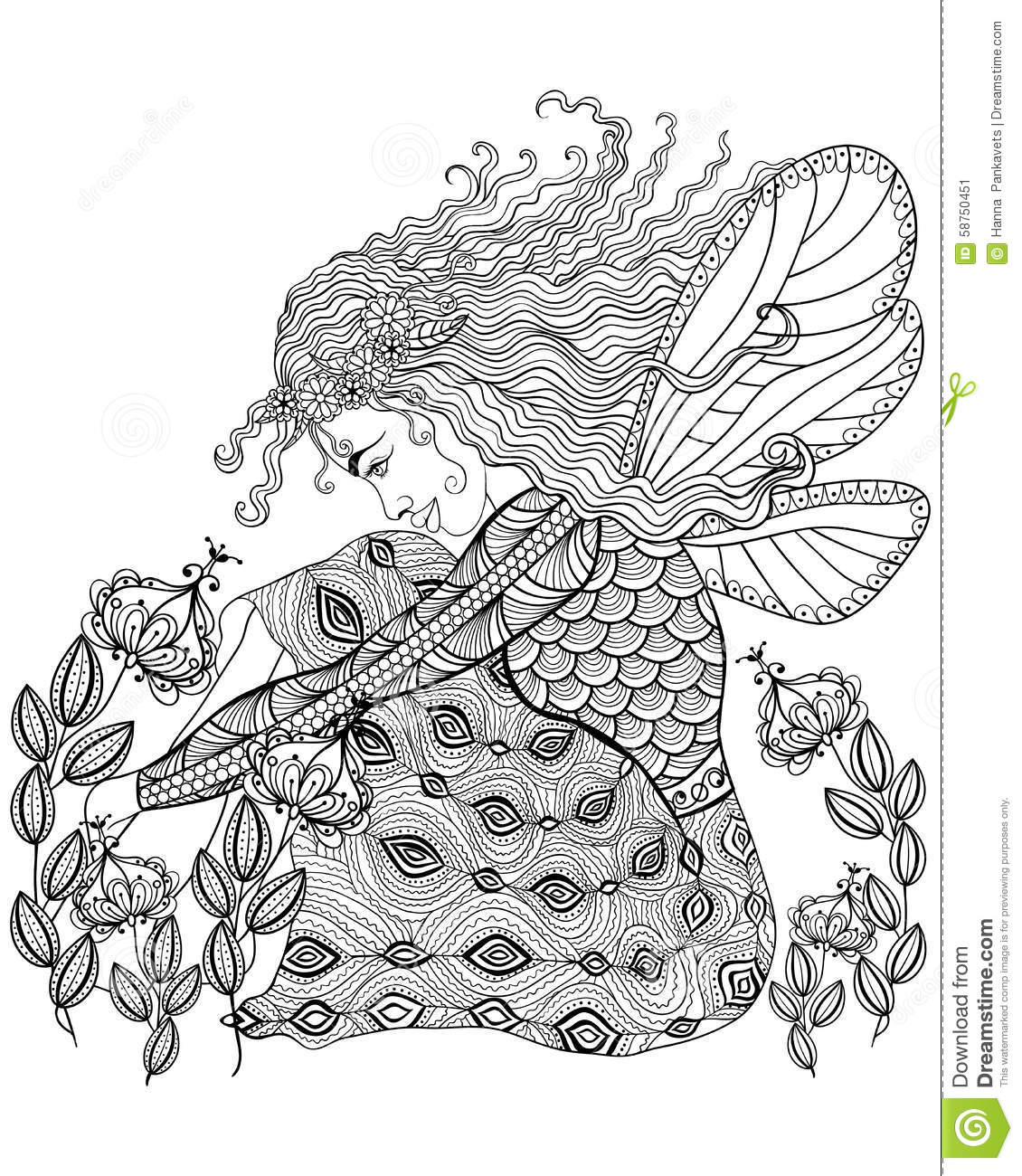 Forest Fairy With Wings In Flower For Adult Anti Stress Coloring Stock Vector