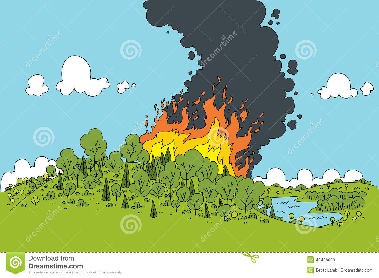 forest fire stock vector illustration of nature wilderness 40498009