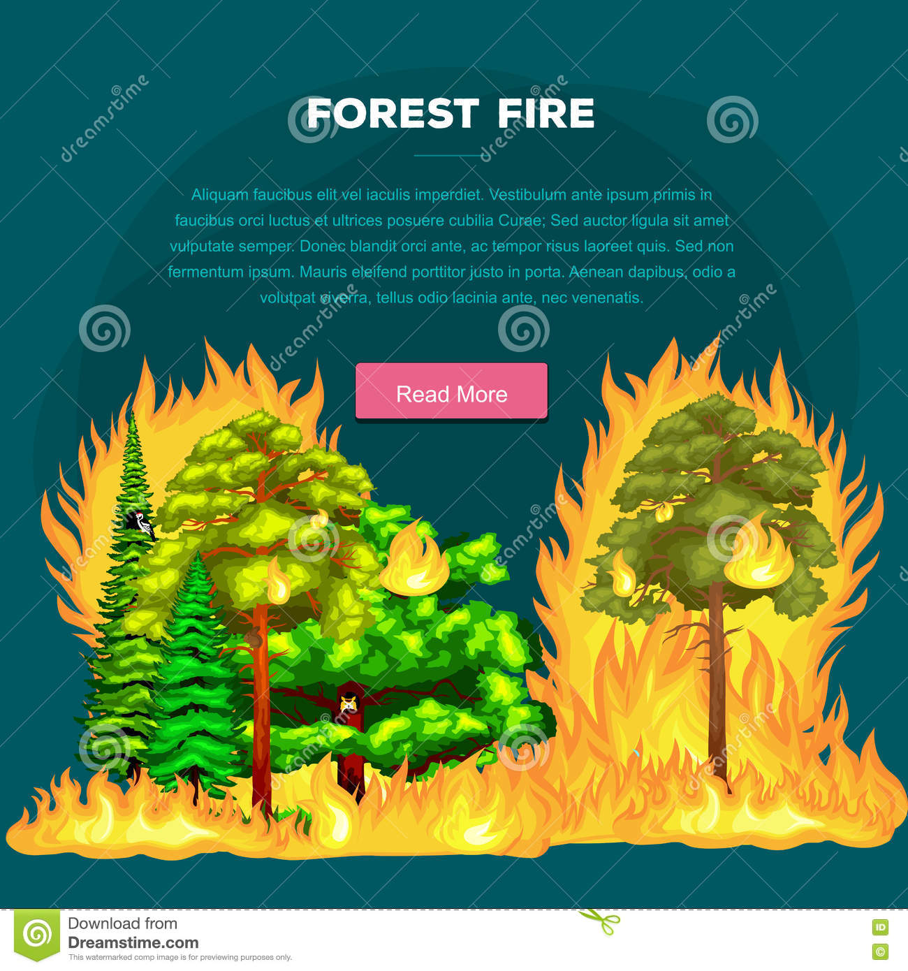 Nature Ecology: Forest Fire, Fire In Forest Landscape Damage, Nature