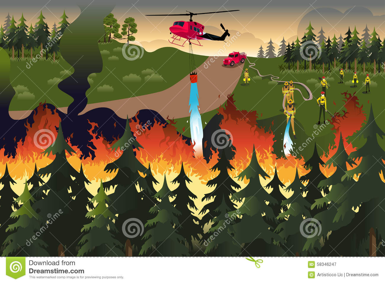Forest Firefighters Stock Vector