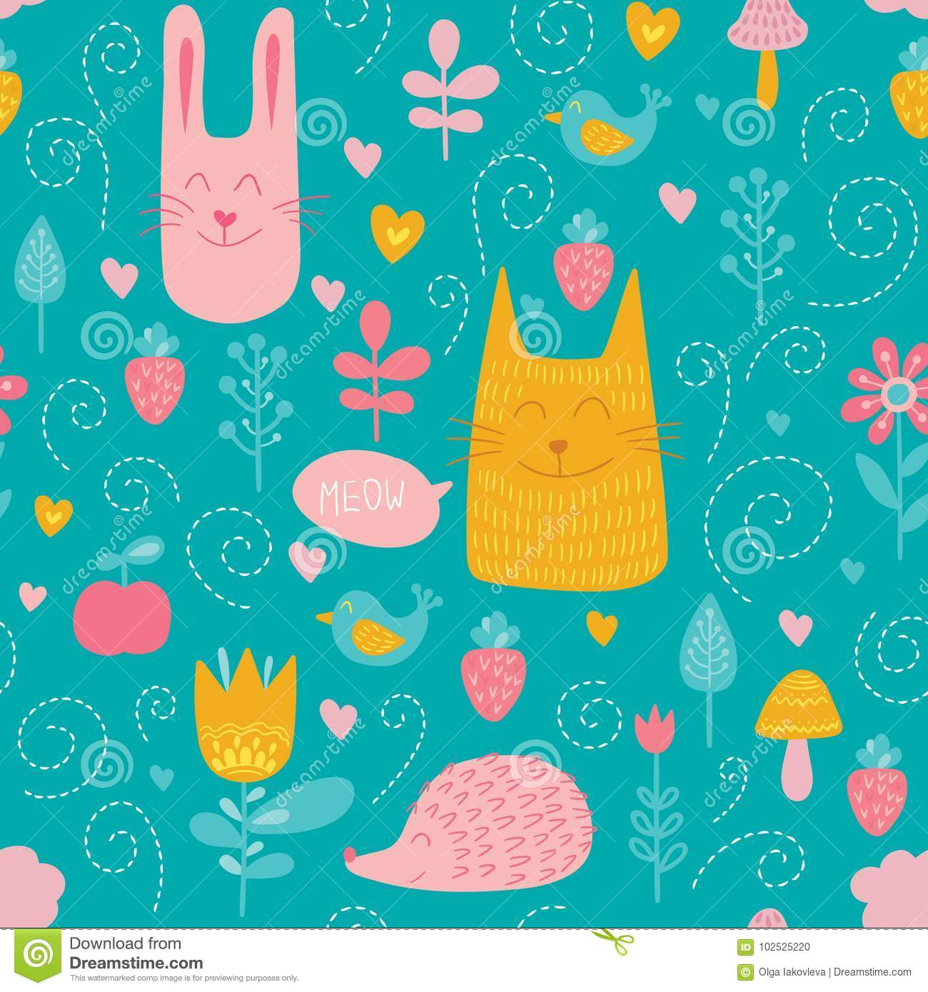 Forest friends vector seamless pattern. Kids blue background with cute animals, birds and plants