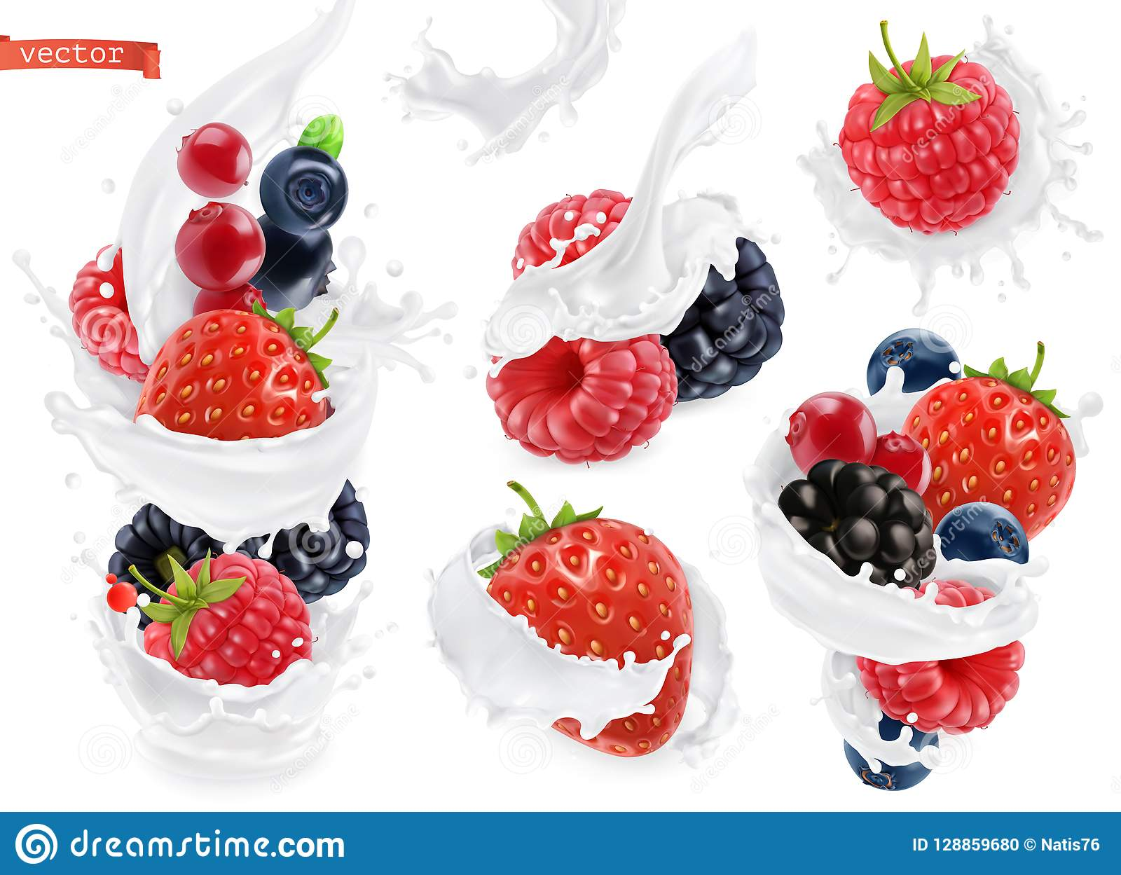 Forest fruit yogurt. Mixed berry and milk splashes. 3d vector