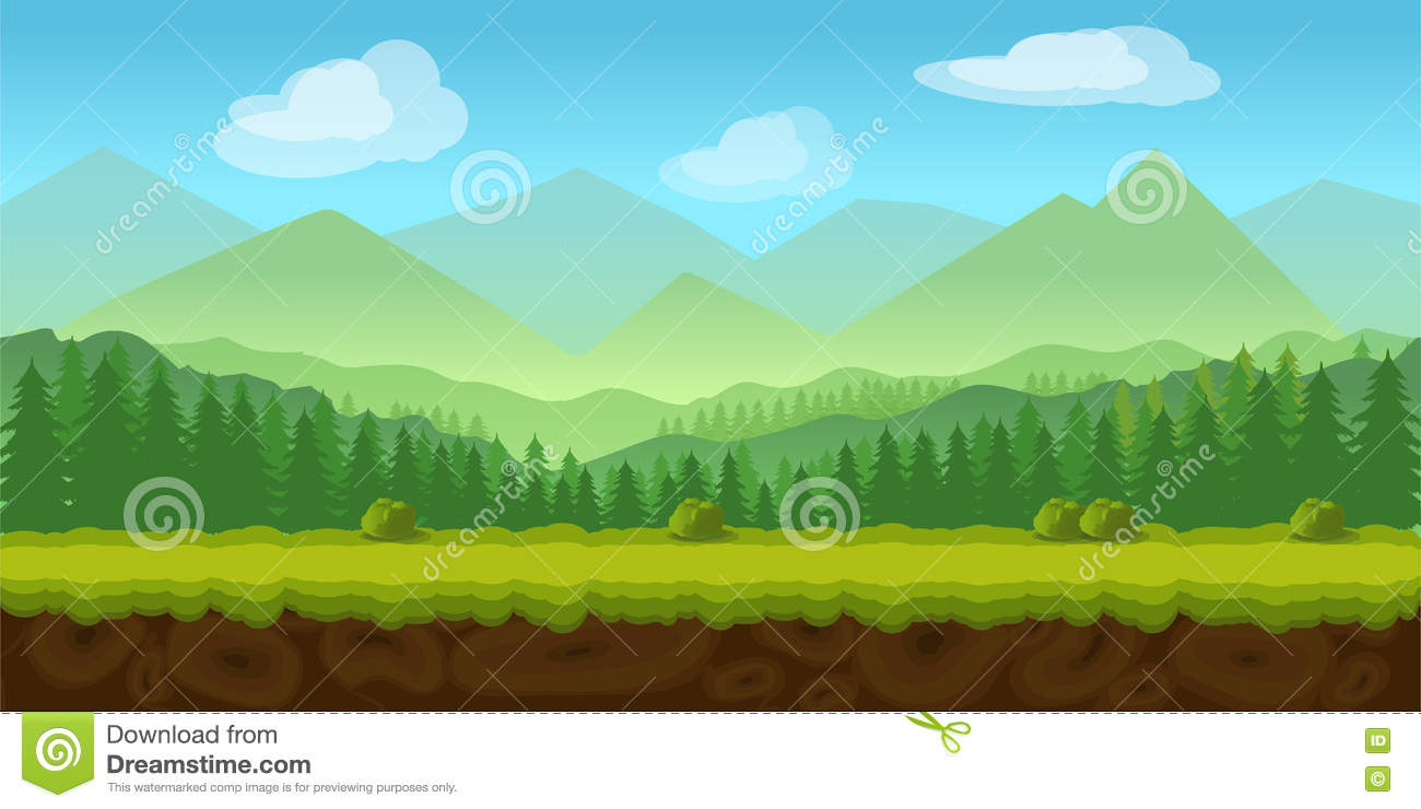 Forest Game Background 2d Application. Stock Vector ...