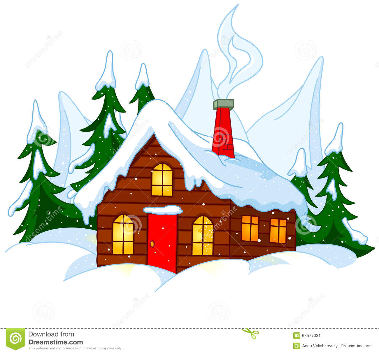 Christmas house with snow art - Forest House Illustration Snow Sky Hill Building Xmas