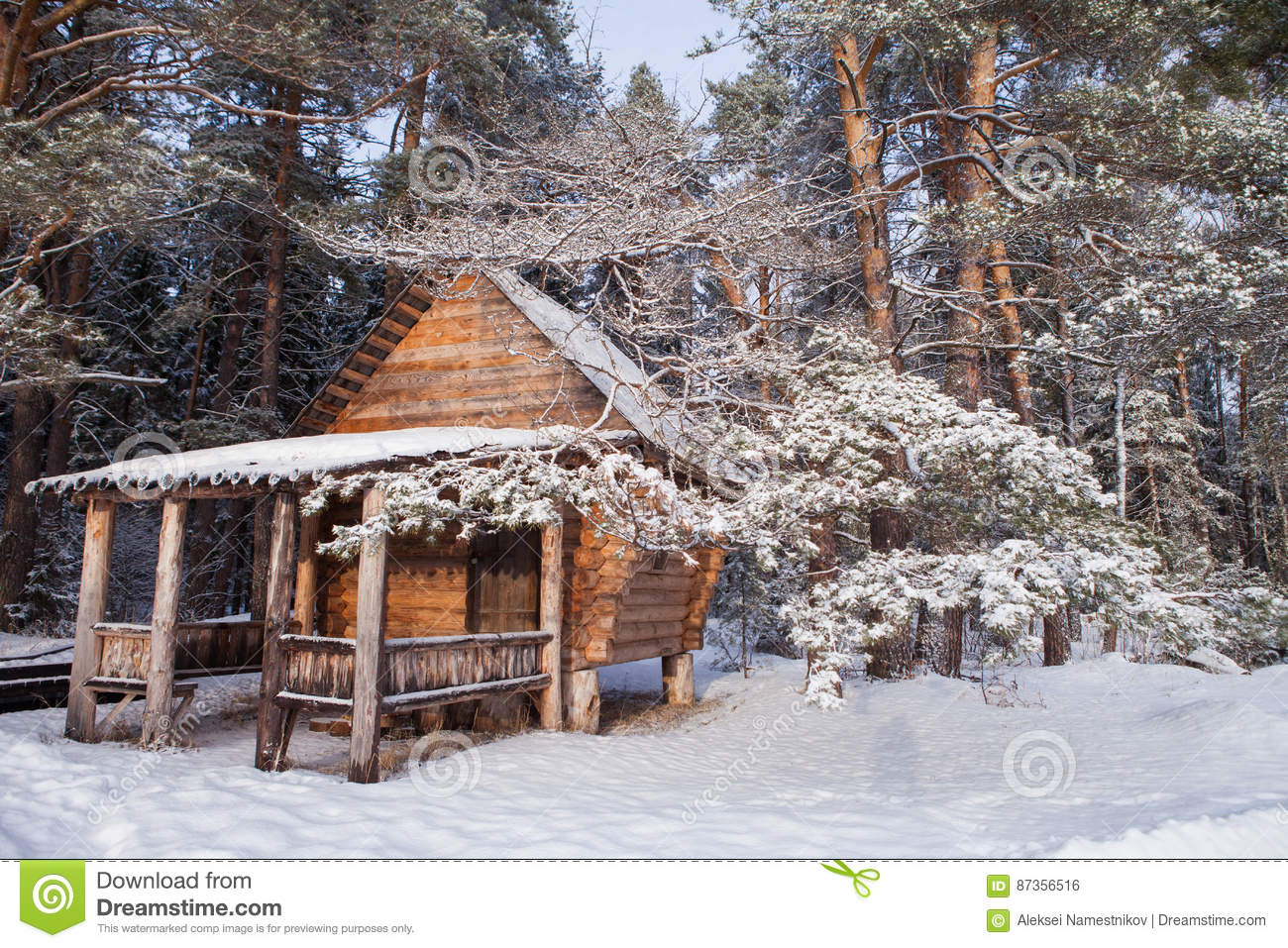Forest Log Cabin In Winter Woods Stock Photo Image Of Road Sunny