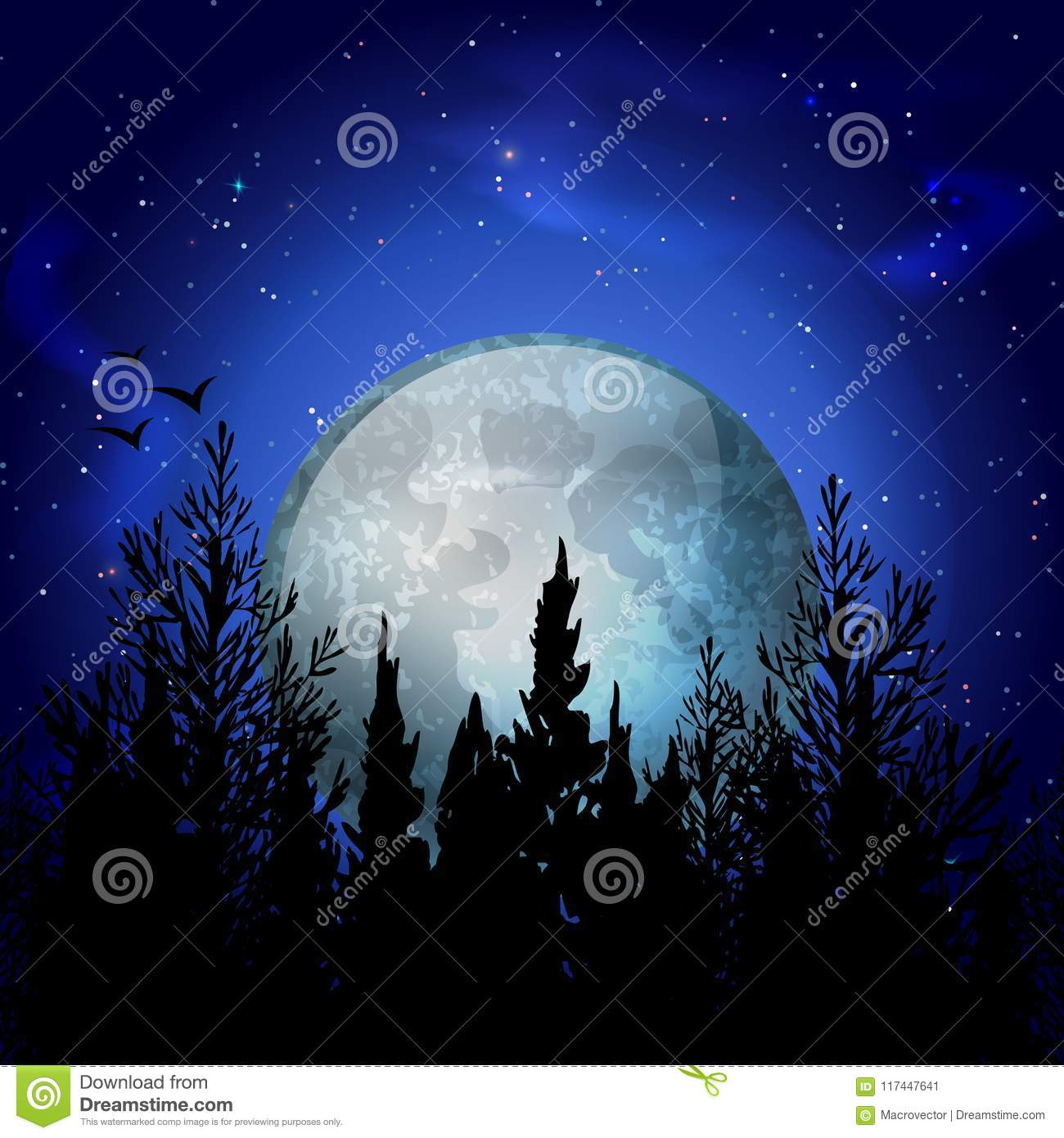 Forest Moon Realistic Composition