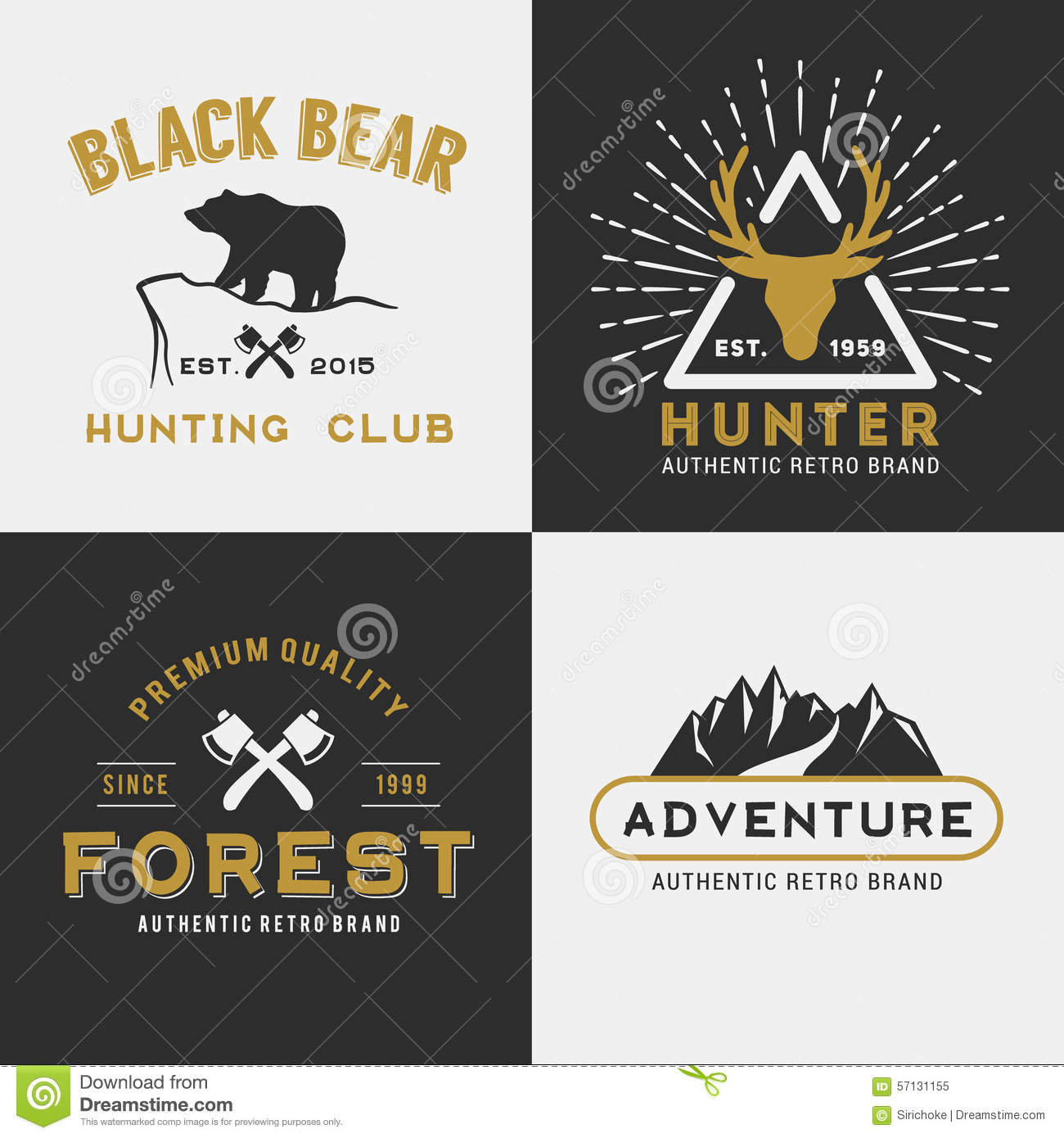 Forest Mountain Adventure Logo Design For Insignia Stock