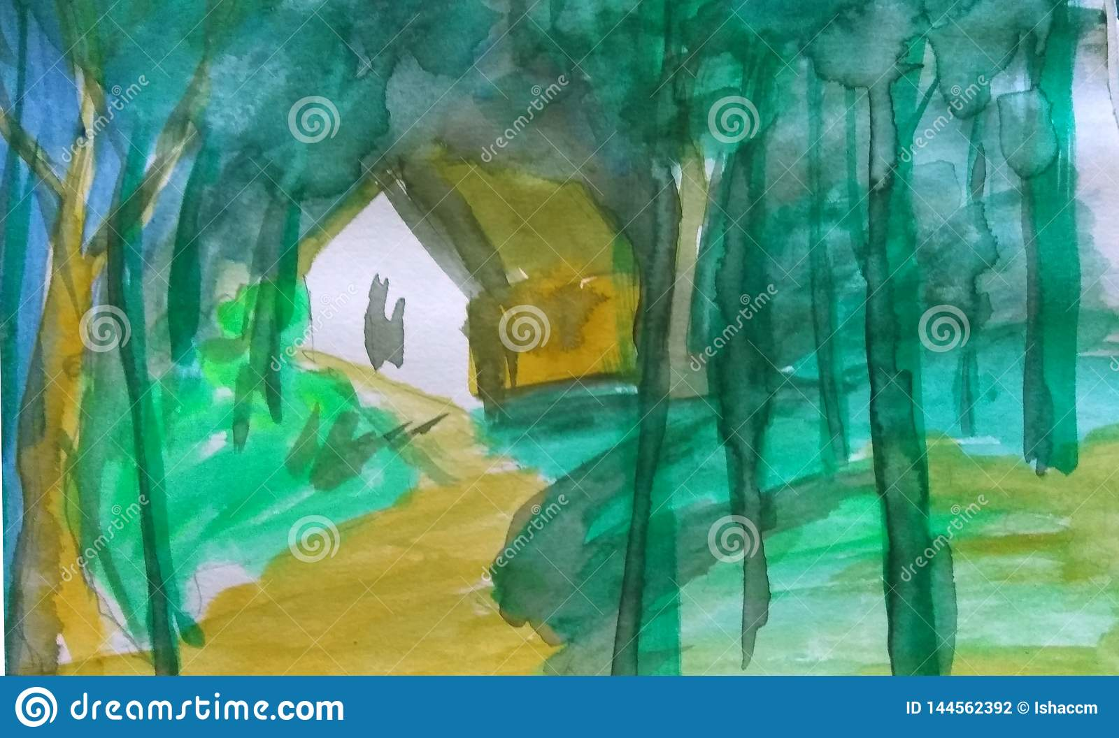 Forest painting water color abstract background