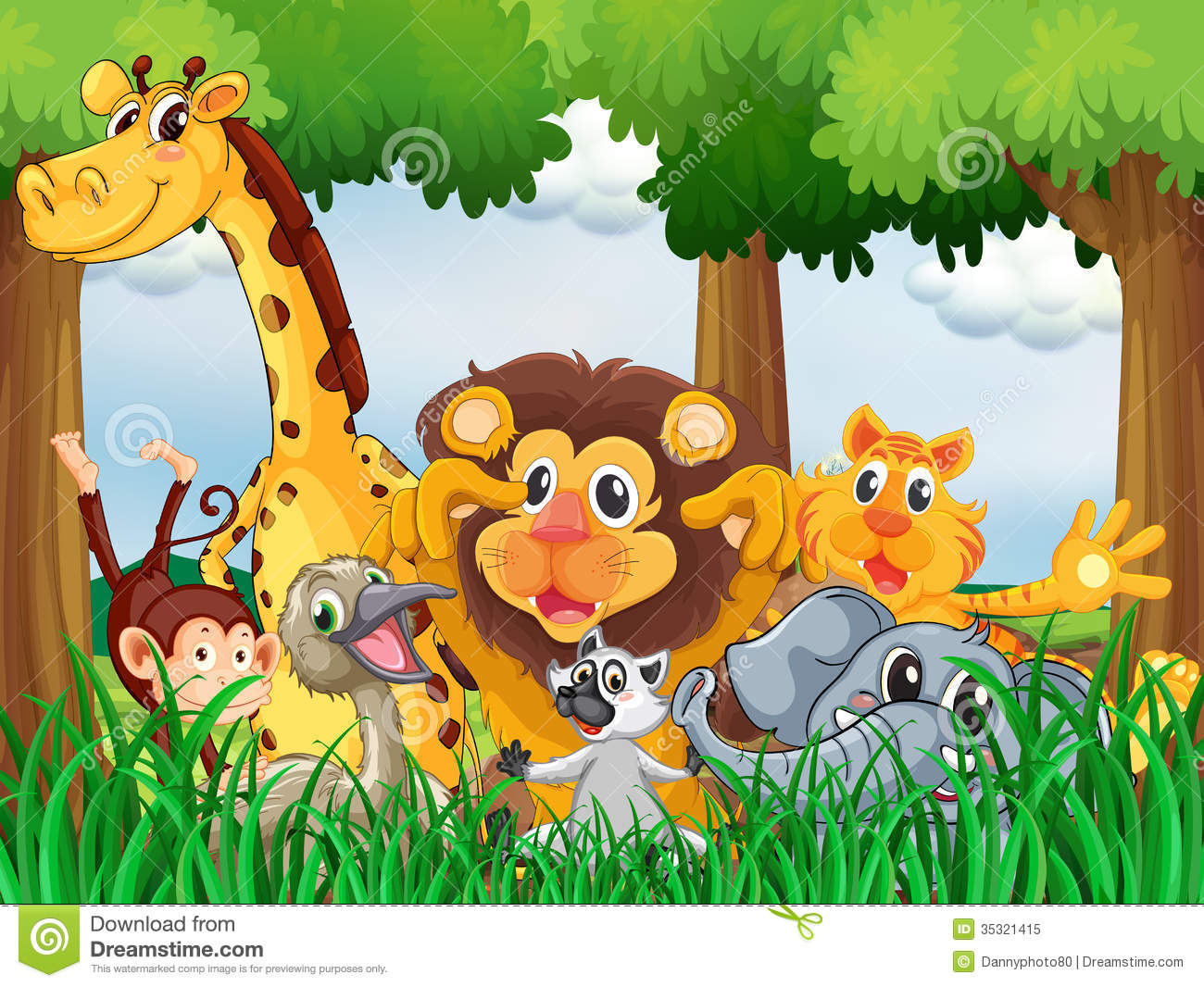 A Forest With Playful Animals Stock Vector - Illustration ...