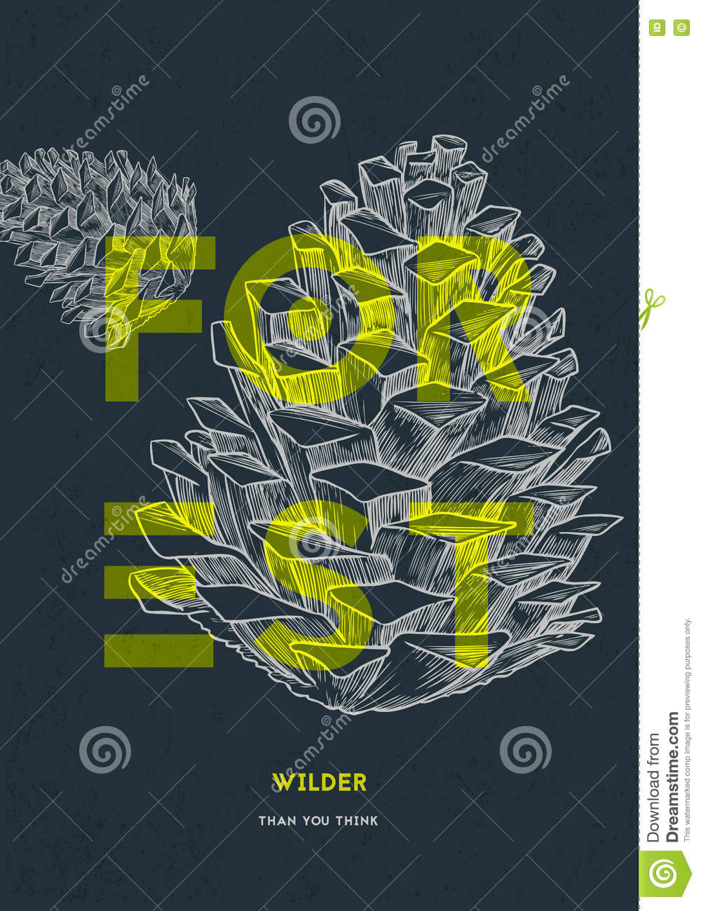 forest poster design template stock vector illustration of cone