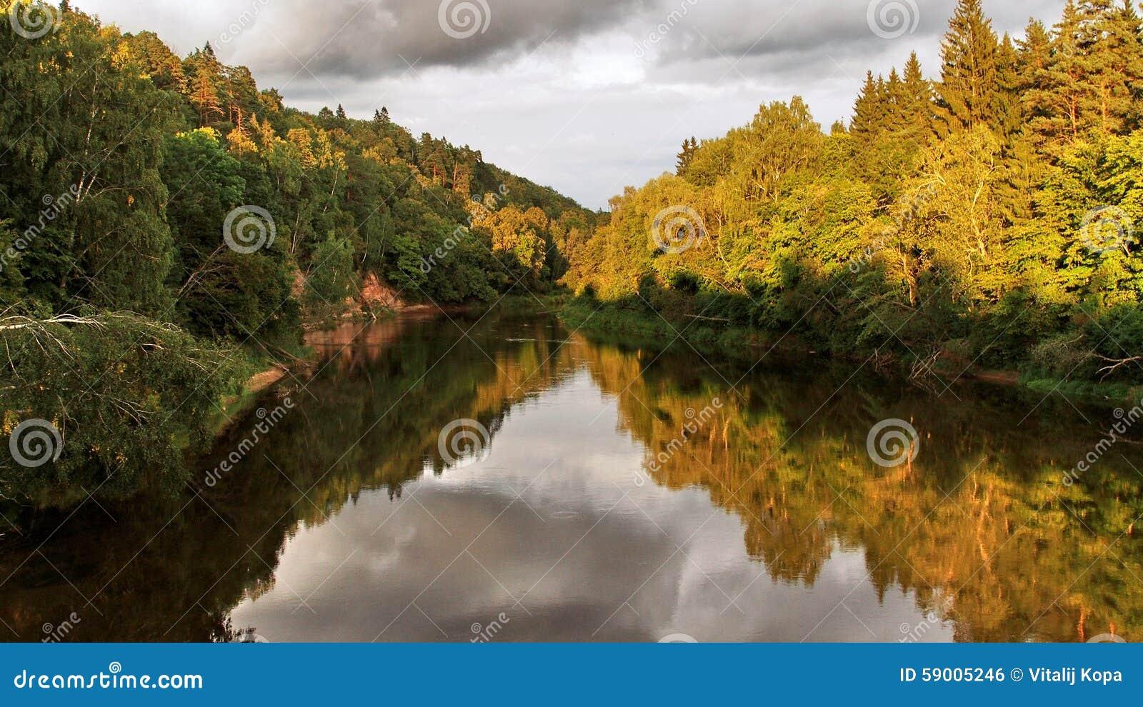 latvian autumn forest river - photo #1