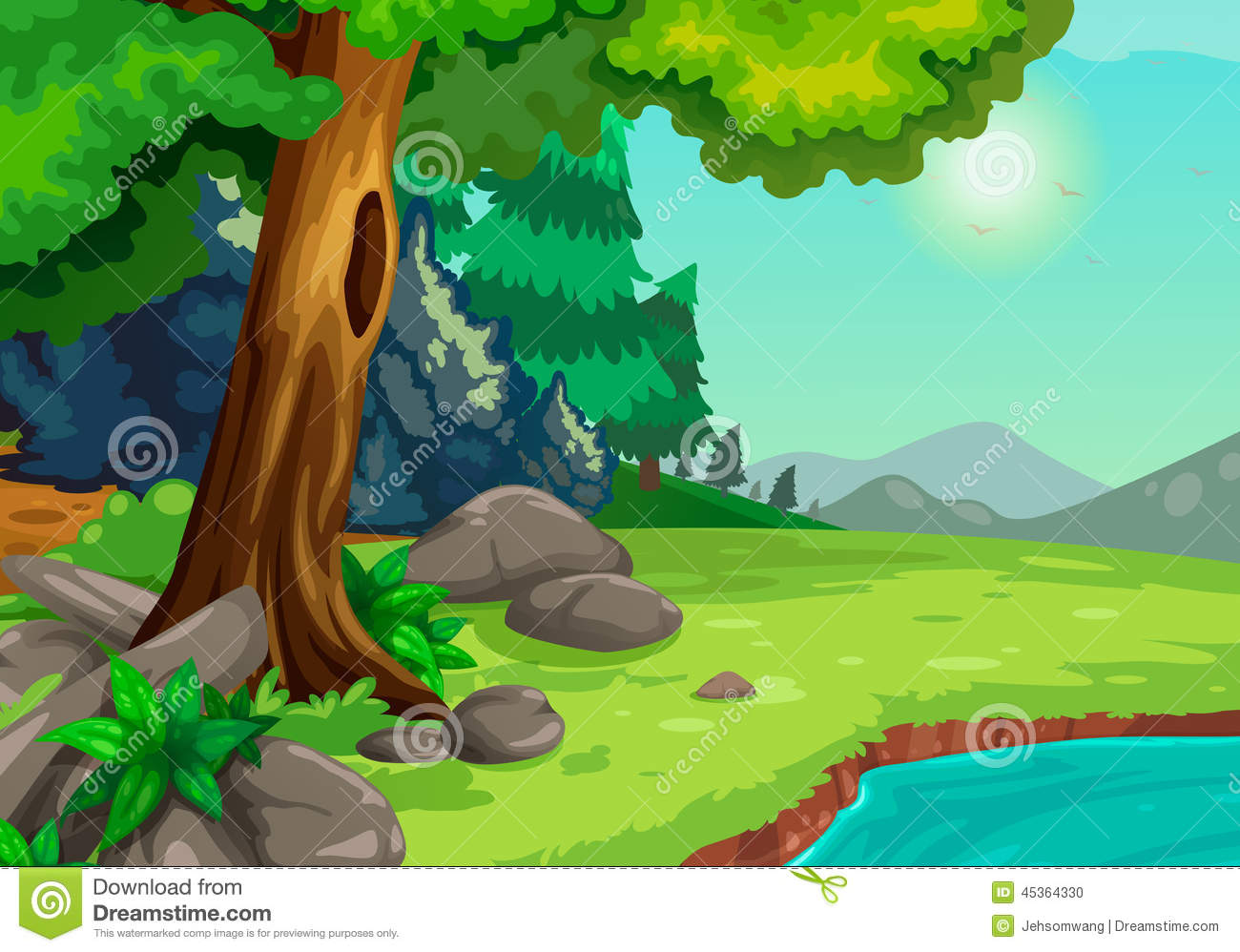 Forest With A River Background Stock Vector Image 45364330