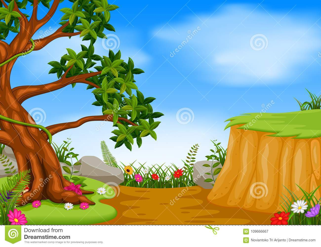 Forest scene with mountain cliff
