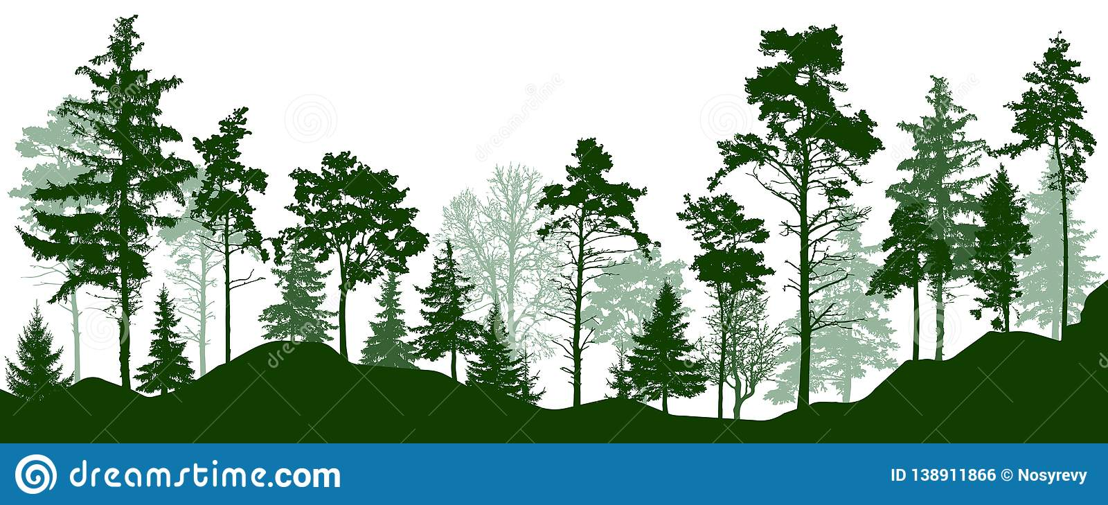 Forest silhouette green trees. Coniferous evergreen forest, park, alley. Vector illustration