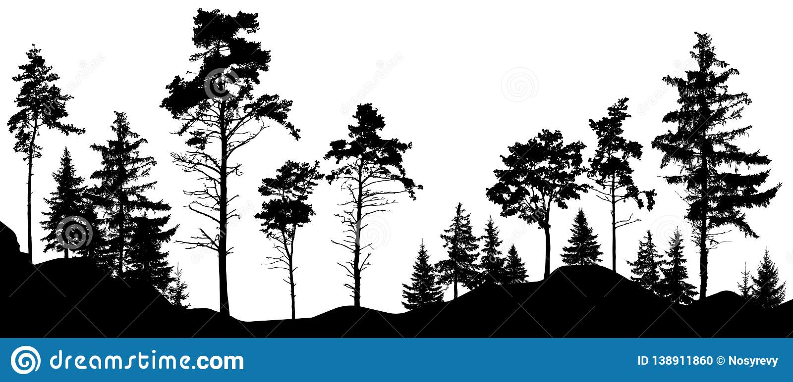 Forest silhouette trees. Vector illustration. Trees isolated from each other, free-standing