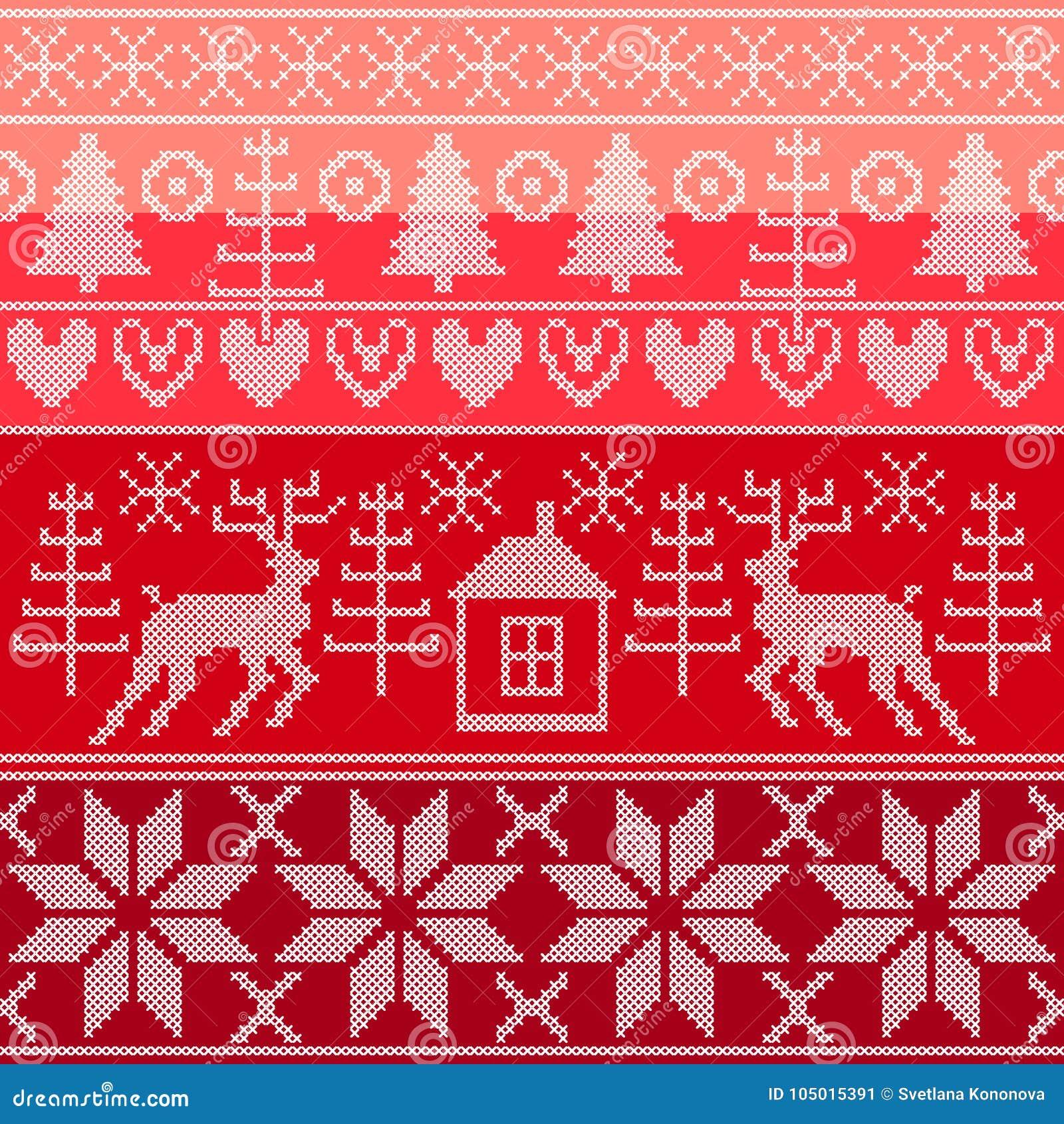 Forest Spirit Set Of Traditional Scandinavian Christmas Patterns
