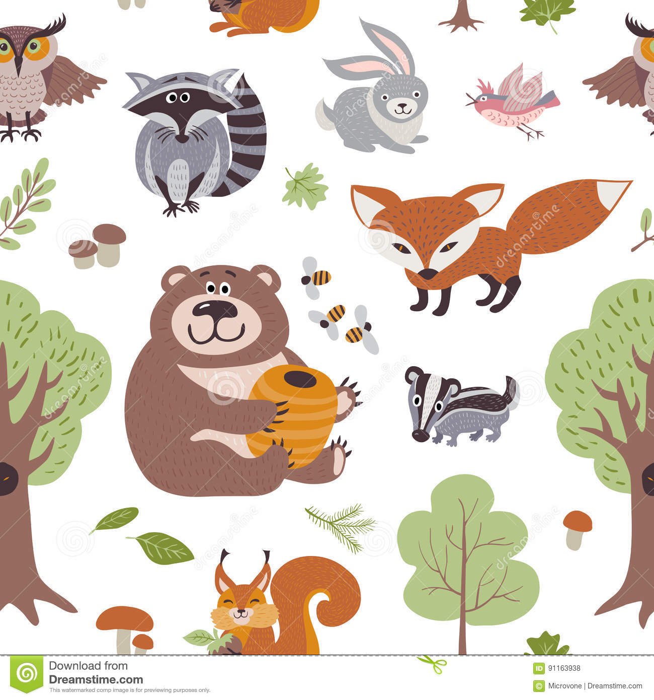 Forest Summer Plants And Woodland Animals Vector Seamless ...