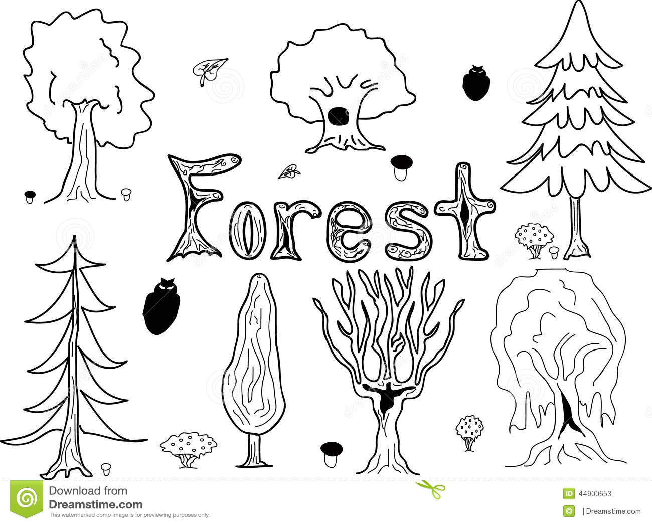 Forest Trees Sketch Style Stock Vector Illustration Of Tree Style 44900653