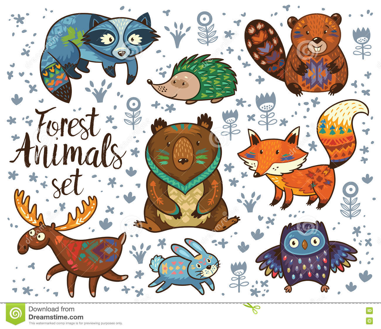 Forest Tribal Animals Vector Set Stock Vector Image