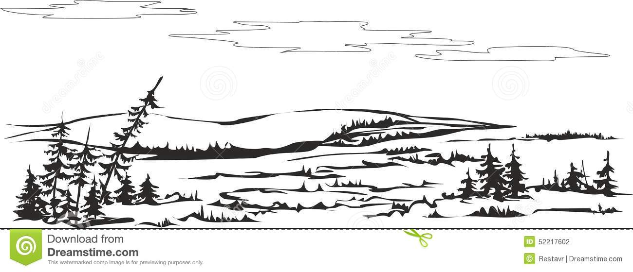 Filename Forest Tundra Vector Drawing Northern Landscape Can Be Used As Small Image Area Addition To Information Topic 52217602 Jpg