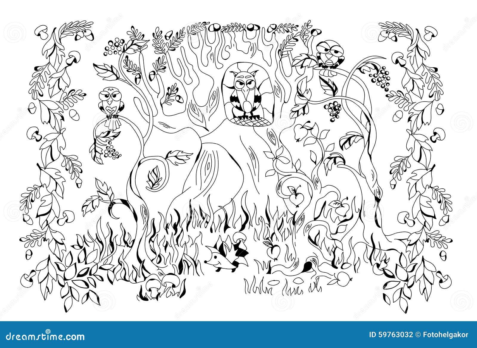 Foresta Di Autunno Abitata In Dagli Animali Differenti Illustrazione